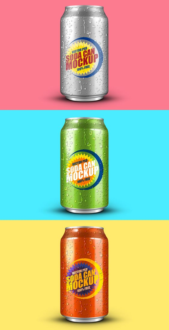 Free Soft Drink Can PSD Mockup (14.3 MB) | graphicsfuel.com