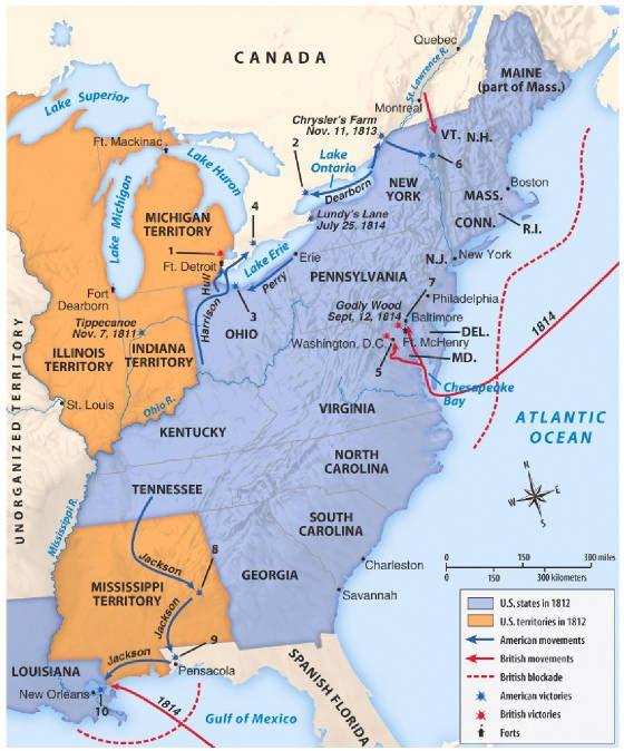 PatrioticWarofENGmapsvgpng Maps Pinterest - Us history map activities answer key war of 1812