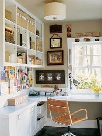 1. Color scheme is perfect complement to kitchen. 2. Shelf organized on top left is perfect to get supplies, etc off of the desk and out of the way.