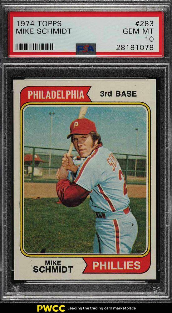Philadelphia Phillies Baseball Cards 1974 Topps #283 Mike Schmidt Very Good-Ex.