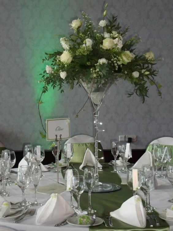 Wedding centrepiece whites and greens in giant martini