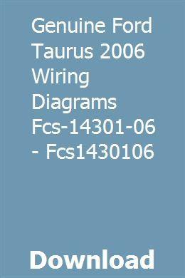 06 mustang wiring diagram genuine ford taurus 2006 wiring diagrams fcs 14301 06 fcs1430106  genuine ford taurus 2006 wiring