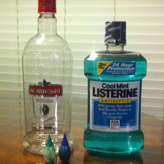 Going on a cruise and don't want to spend a fortune on drinks?  Pour your vodka in an empty Listerine bottle, add 3 drops of blue food coloring and 1 drop of green.  Wa-la! --sneaky sneaky!! most genius thing EVER!
