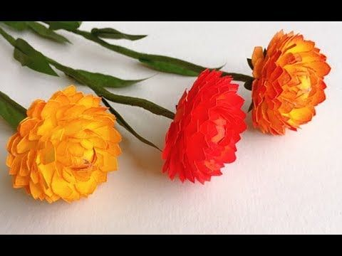 Abc Tv How To Make Strawflower Paper Flower With Shape Punch Craft Tutorial Youtube Paper Flowers Craft Paper Flowers Paper Flower Template