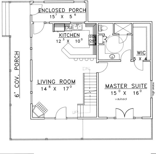 House Plan 039 00346 Contemporary Plan 1 526 Square Feet 2 Bedrooms 2 5 Bathrooms Small Home Plan House Plans Tiny House Floor Plans