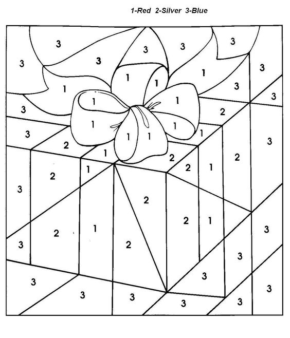 Christmas gift color by number coloring pages for kids 91 kinderarbeid pinterest christmas gifts gift and christmas colors