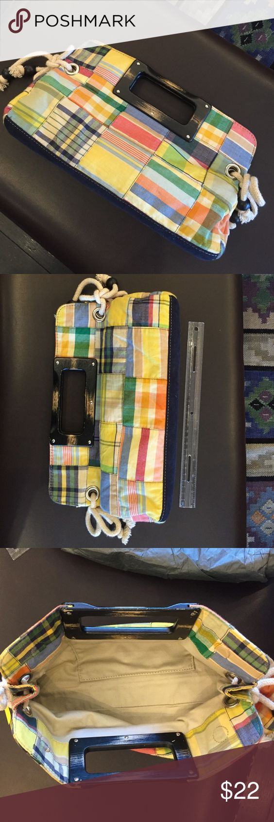 Plaid patchwork clutch Magnetic closure.In excellent condition. J. Crew Bags Clutches & Wristlets