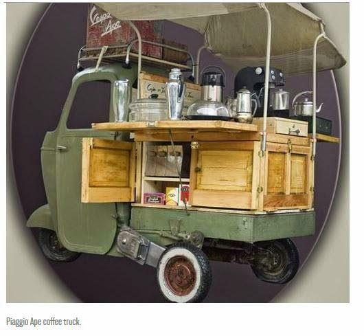 second cup coffee mobile coffee van piaggio ape | parques