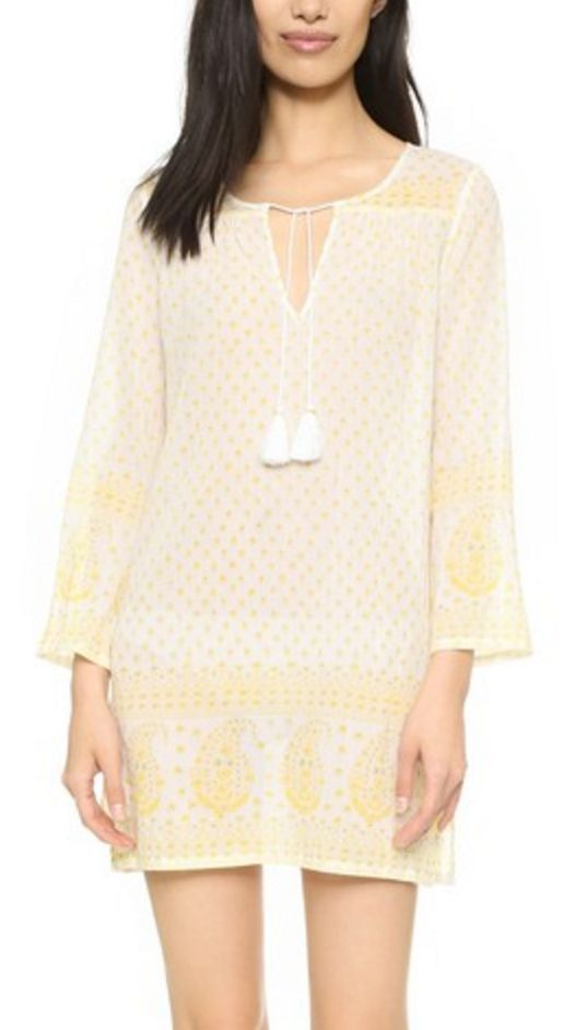 Yellow and White Paisley Print Voile Kaftan