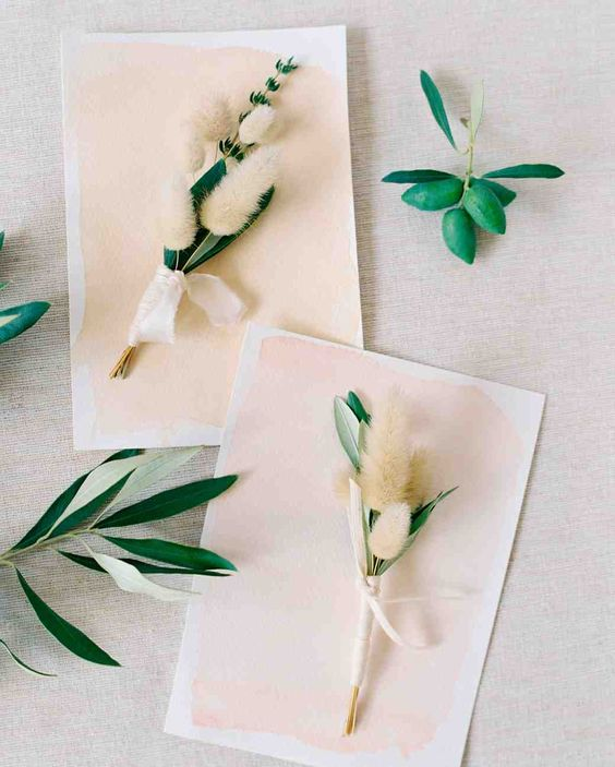 47 Boutonnieres You Both Will Love | Martha Stewart Weddings - Rebecca Grace of Natural Art Flowers crafted the boutonnieres for this wedding in Australia using olive leaf and pussy willow.