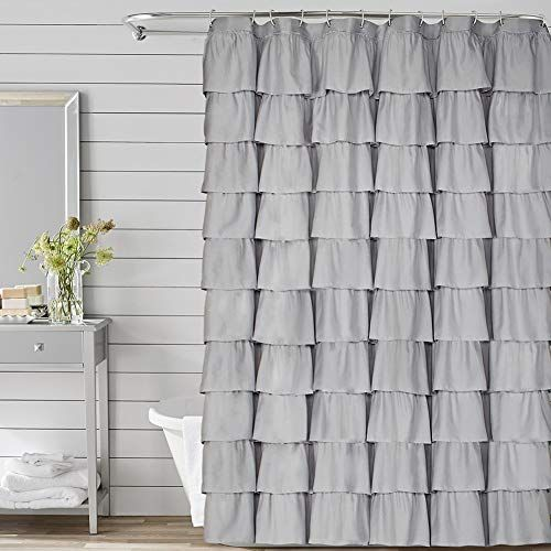 Volens Gray Grey Ruffle Shower Curtain Fabric Cloth Rustic Shower