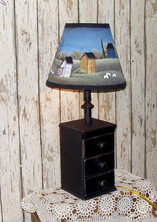Lamp Primitive Folk Art Painted Lamp Shade Saltbox by raggedyjan, $39.98
