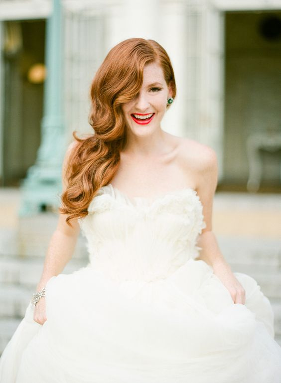 Beautiful long waves. #bridal #hairstyle #redhead #makeup