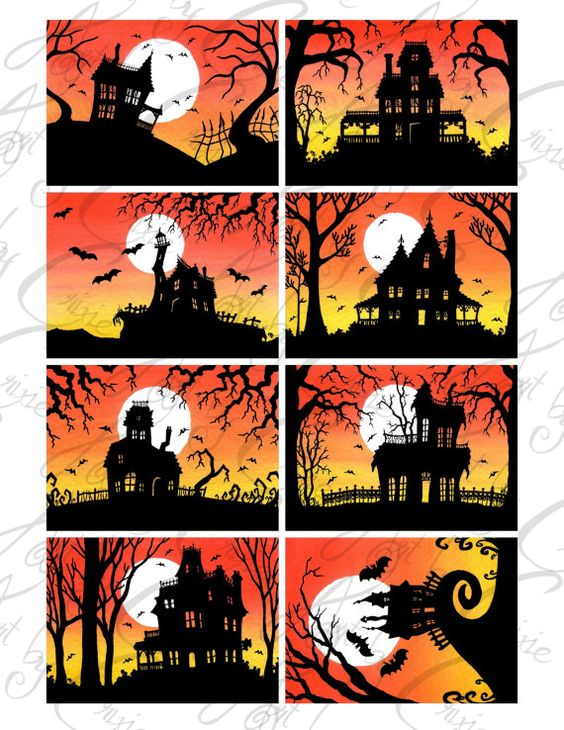 """SET 1 Fine Art ACEO ATC digital download printable collage sheet """"Halloween Collection"""""""