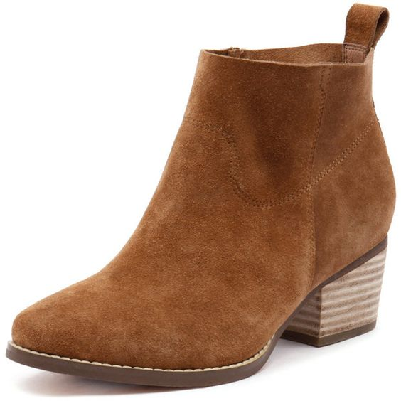 I Love Billy Lasey Tan Suede (£72) ❤ liked on Polyvore featuring shoes, boots, ankle booties, suede boots, stacked heel booties, tan booties, short boots and tan suede ankle booties