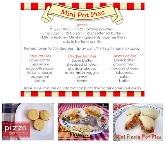 Mini pizza, chicken, and fiesta pot pies. Great to make and freeze.