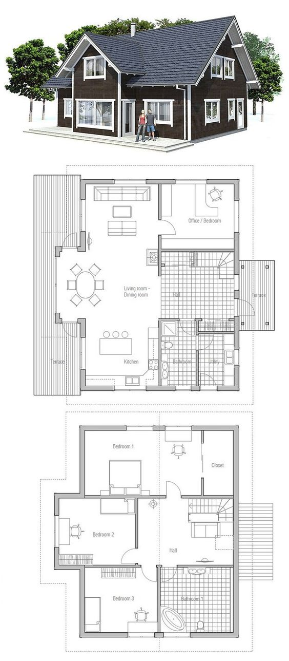 Modest  amp  affordable small house plan  Three bedrooms  two    Modest  amp  affordable small house plan  Three bedrooms  two bathrooms  Logical interior planning