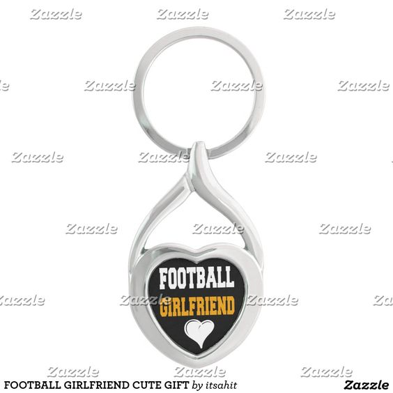 FOOTBALL GIRLFRIEND CUTE GIFT Silver-Colored Heart-Shaped METAL KEYCHAIN