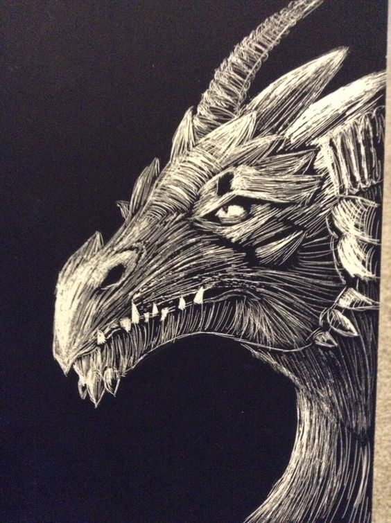 Scratch Art Dragon By Alexa Black My Own Art