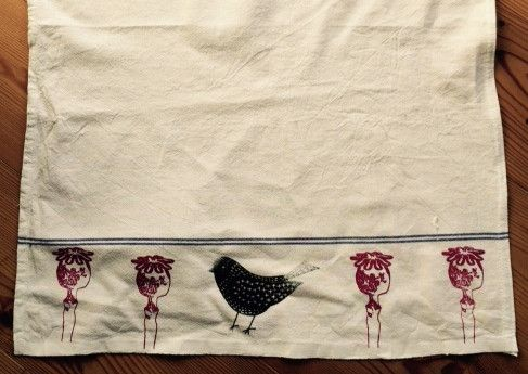 Geschirrtücher - Geschirrtuch Leinen- Mohnblume Vogel Siebdruck - ein Designerstück von Narrischguad bei DaWanda