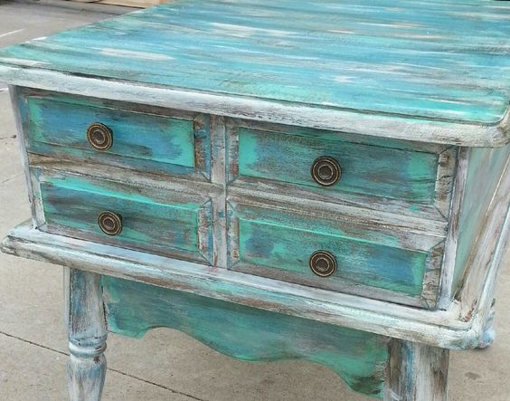 Turquoise Black Distressed Furniture And Furniture On Pinterest