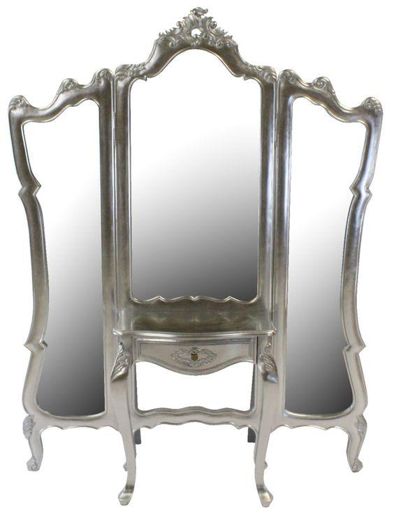 Three Way Mirrors French Silver Leaf 3 Way Dressing