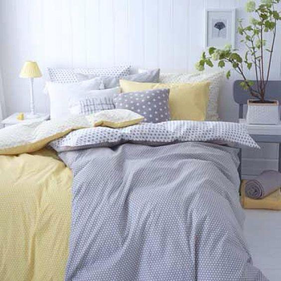 Skap et friskt og sommerlig soverom. kombiner grått og gult ...