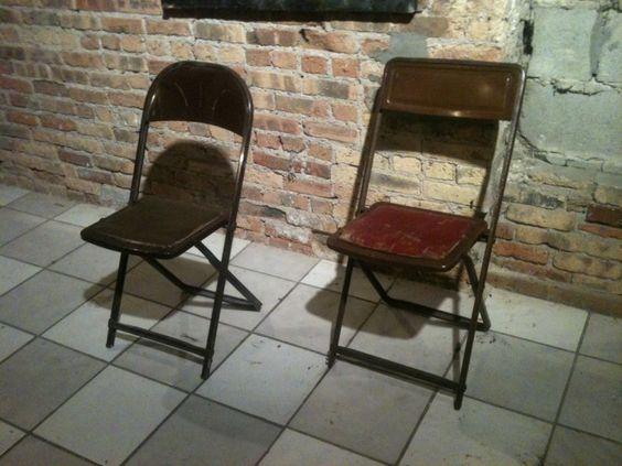 vintage metal rockers   Vintage Metal Folding Chairs (3) for sale   SnapshotBids.com