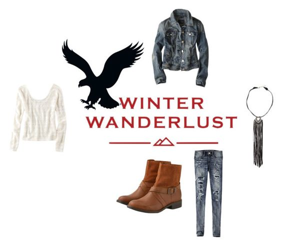 """Winter Wanderlust with American Eagle: Contest Entry"" by joellesmolenaers ❤ liked on Polyvore featuring American Eagle Outfitters and aeostyle"