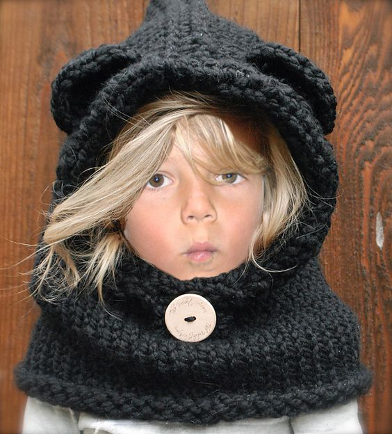 bonnet capuche cagoule snood avec oreilles unisexe pour enfants mode filles par rose de roz. Black Bedroom Furniture Sets. Home Design Ideas