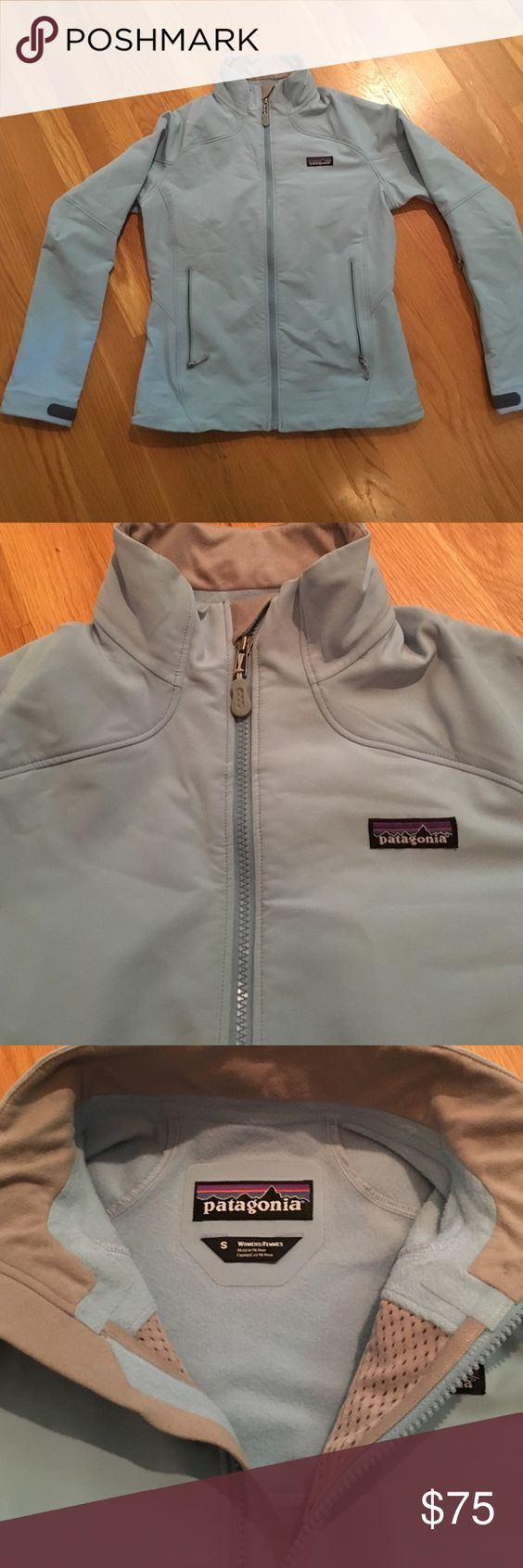 Patagonia light blue lined windbreaker jacket Awesome jacket - thicker than a windbreaker and lined with soft fleece like material. Super warm because of outer jacket material but still thin enough to exercise or wear in fall. Could be layered for a great winter coat too! Size S. Patagonia Jackets & Coats