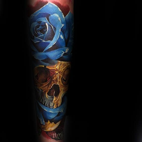 90 Realistic Rose Tattoo Designs For Men Floral Ink Ideas Blue Rose Tattoos Realistic Rose Tattoo Rose Tattoos For Men