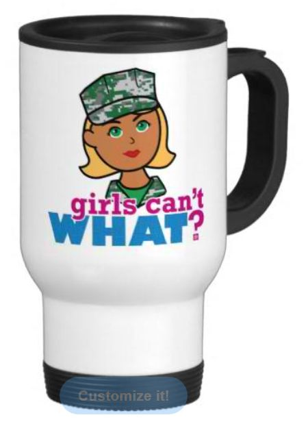 Be in style when you're on the go with our stainless steel travel/commuter mug. This spill-proof commuter mug has a removable plastic top and looks  good adorned with your favorite picture or text. Hand wash only. Imported. http://www.girlscantwhat.com/personalized-gifts/marine/   #girlscantwhat #girlpower #marine #coffeemug