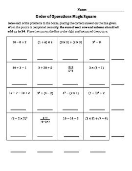 math worksheet : here s a 4x4 magic square puzzle on order of operations when  : Math Magic Square Worksheet