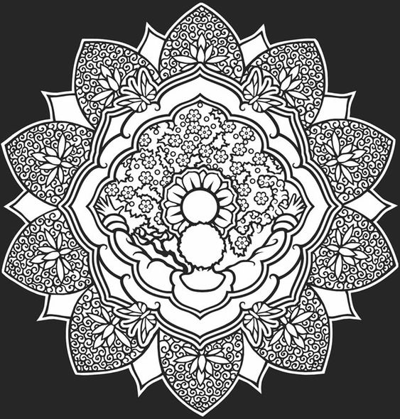 color it yourself Mandalas Psychedelic hippie Indian