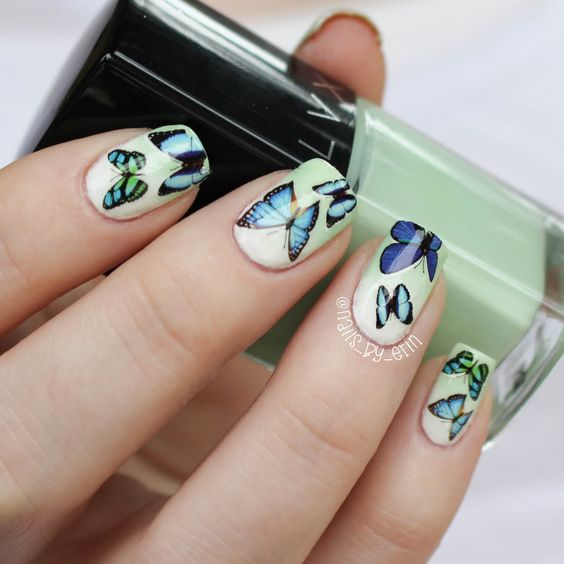 Mint Gradient and Butterfly decal nails | NailsByErin