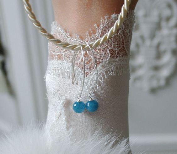 8mm Aquamarin Facettierte Perlen Ohringe Aquamarine Faceted pearl Earrings