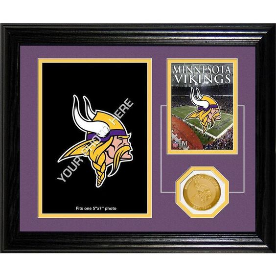 This 10 x 12 frame with a removable easel back and double matting displays a picture of the home of the Minnesota Vikings, Hurbert H. Humphreys Metrodome, a minted team commemorative coin to go along with your own 5 x 7 photo displaying your fandom.