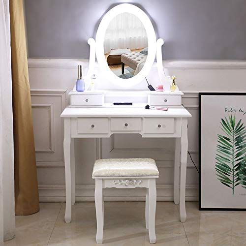 Firlar Makeup Vanity Table Set And Cushioned Stool Dressing Table With Light Bulb 5 Drawers Single Mirror W Vanity Table Set Wooden Makeup Vanity Vanity Table