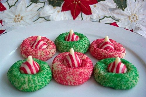 To. Die. For. Recipes : Candy Cane Hershey Kiss Cookies--You can use any Hershey Kiss for this recipe. I prefer peppermint. My family likes normal. Also, I generally dye the dough with food coloring rather than sprinkle with sugar (the kiss is sweet enough!).