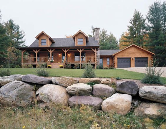 Country Landscape Ideas Logs House And Log Homes
