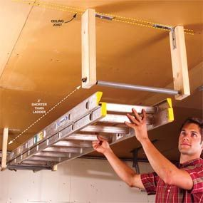 DIY Tutorial - save wall space in the garage by making a Suspended Extension Ladder Storage Rack using L brackets, 2x4's, and PVC conduit pipe [familyhandyman.com].