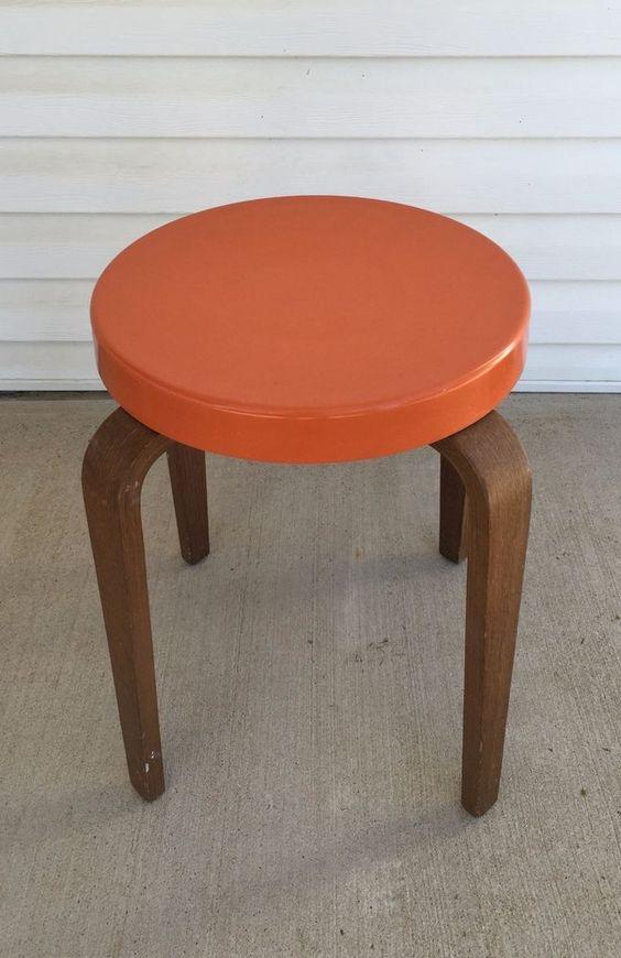 Mid Century Thonet Bentwood Orange Molded Plastic Stool #MidCenturyModern #Thonet