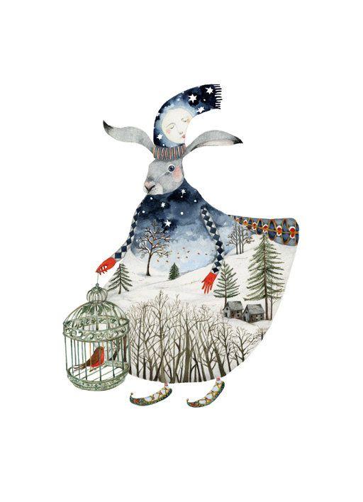 Hare Print Winter Moon Hare 8x11 Giclee Print by ChasingtheCrayon on Etsy
