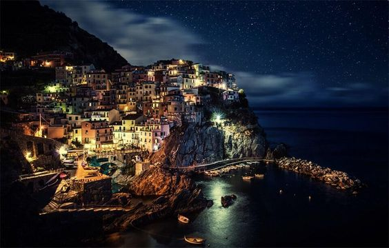 Manarola At Night, Italy ...