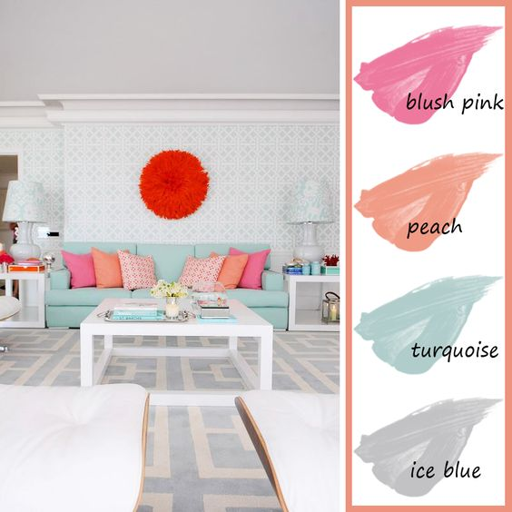 Living-Room-Color-Palette-Blue-Pink-Peach-Turquoise | Decorating