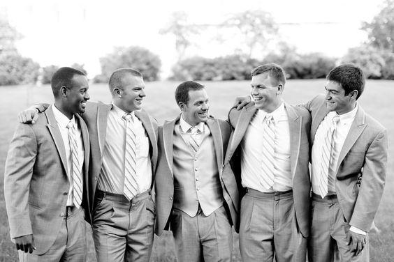 Simple grey suits for the groom & groomsmen | Stephanie & Kyle's simply elegant, Mt. Vernon Inn wedding | Images: Carley Rehberg Photography
