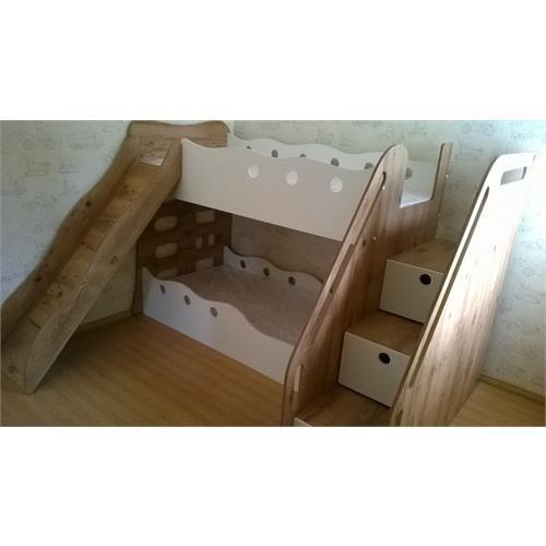 Beliche infantil com escada de gavetas e escorregador - Doseles para camas infantiles ...