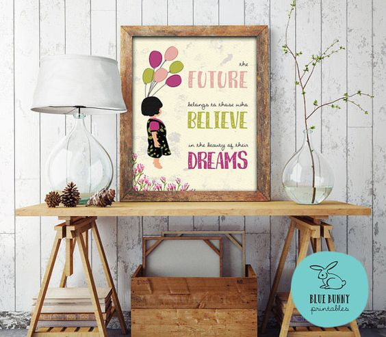 Inspirational Quote Wall Art. The Future von BlueBunnyPrintables