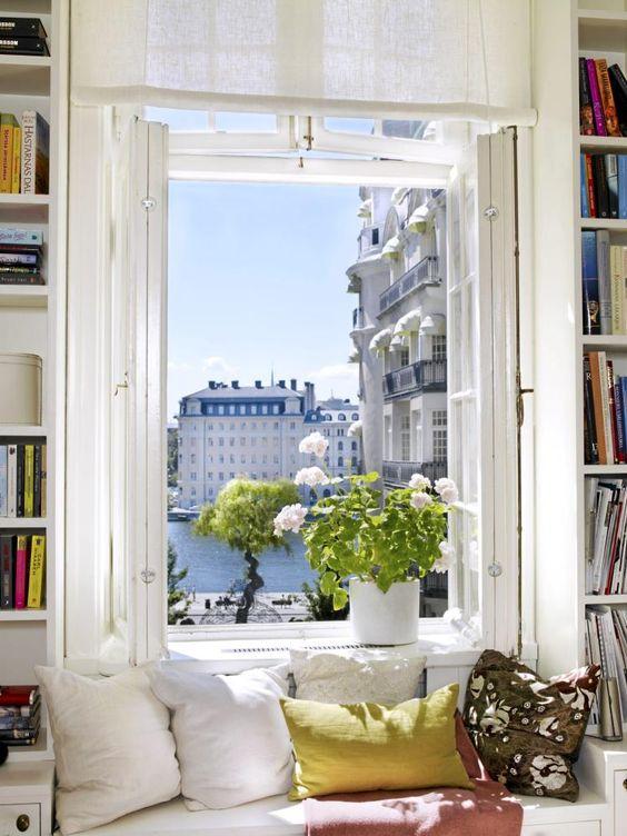 tall windows & tall bookshelves to match